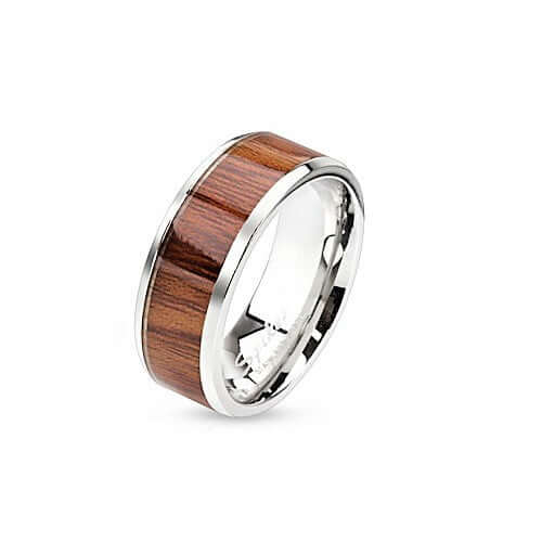 Mens stylish wooden band stainless steel ring