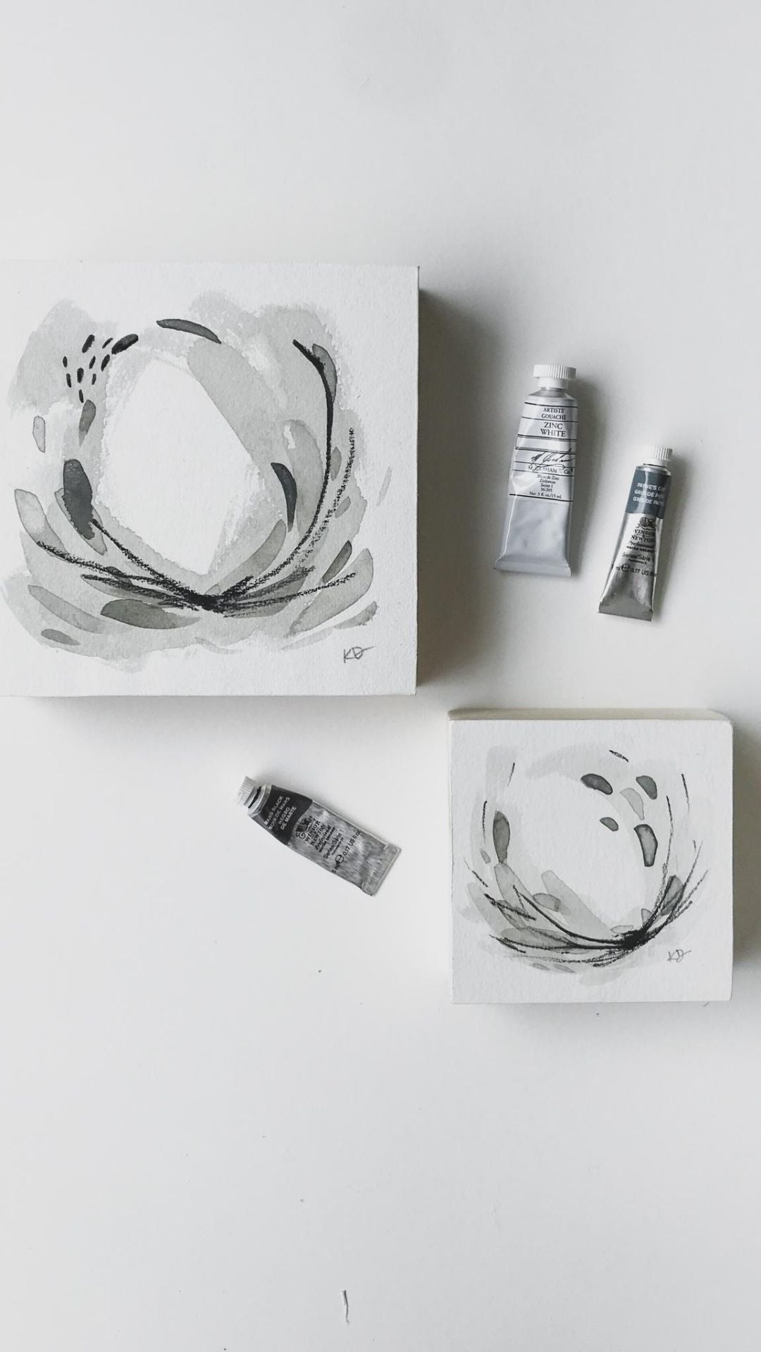Original Abstract Neutral Painting - minimal, black and white, watercolour, @kaitcreative artist kait dewolff
