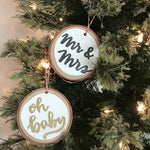 Hand-Lettered White Wood Ornament