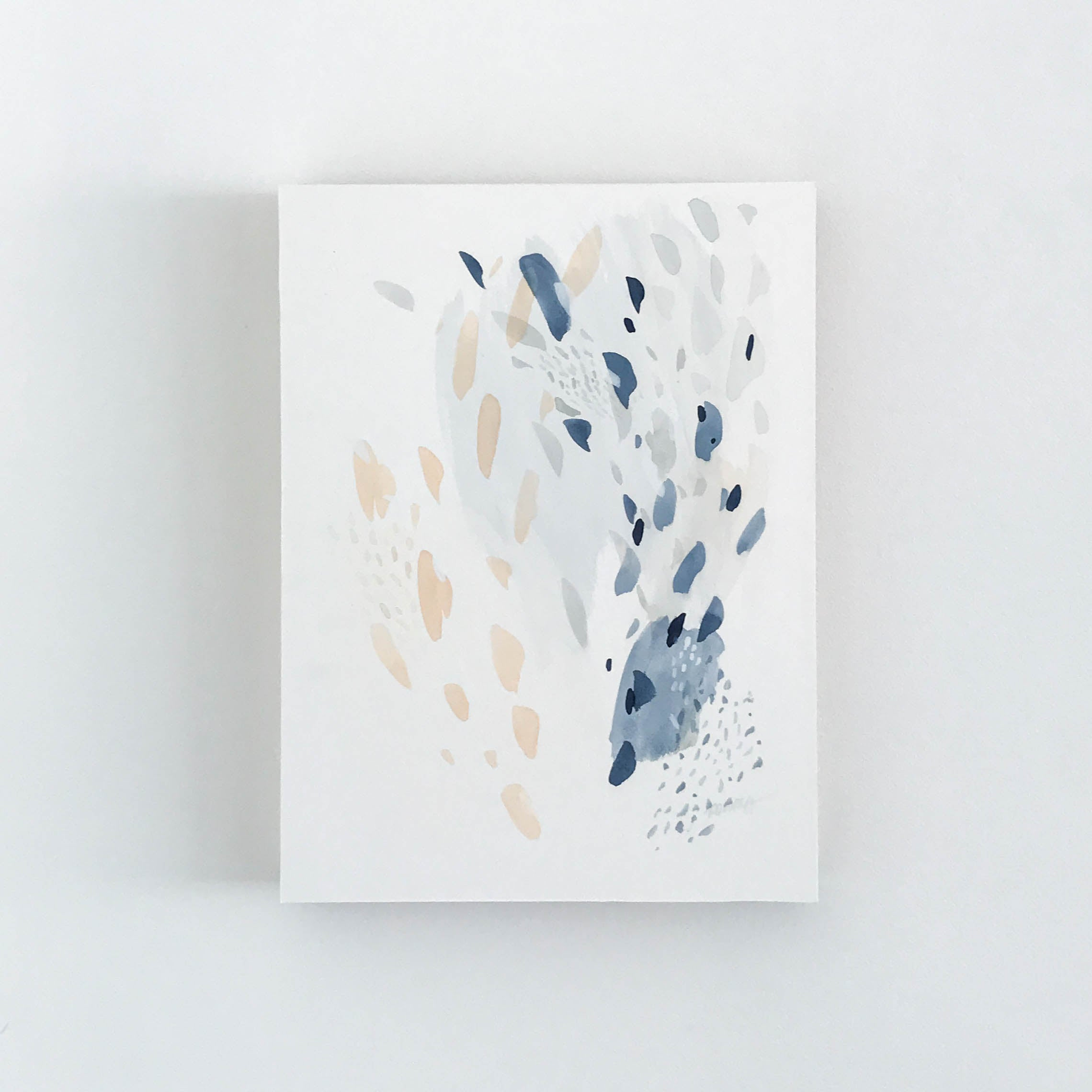 "Original one-of-kind artwork reflecting the movement of water, light and colour over pacific mussel shells. 12"" x 16"" Original Artwork - Watercolour and gouache on natural white watercolour paper mounted on cradled wood panel. Abstract watercolour artwork by artist Kait DeWolff @kaitcreative est coast art, blue abstract art, minimal art #minimalart #watercolour #abstractpainting"
