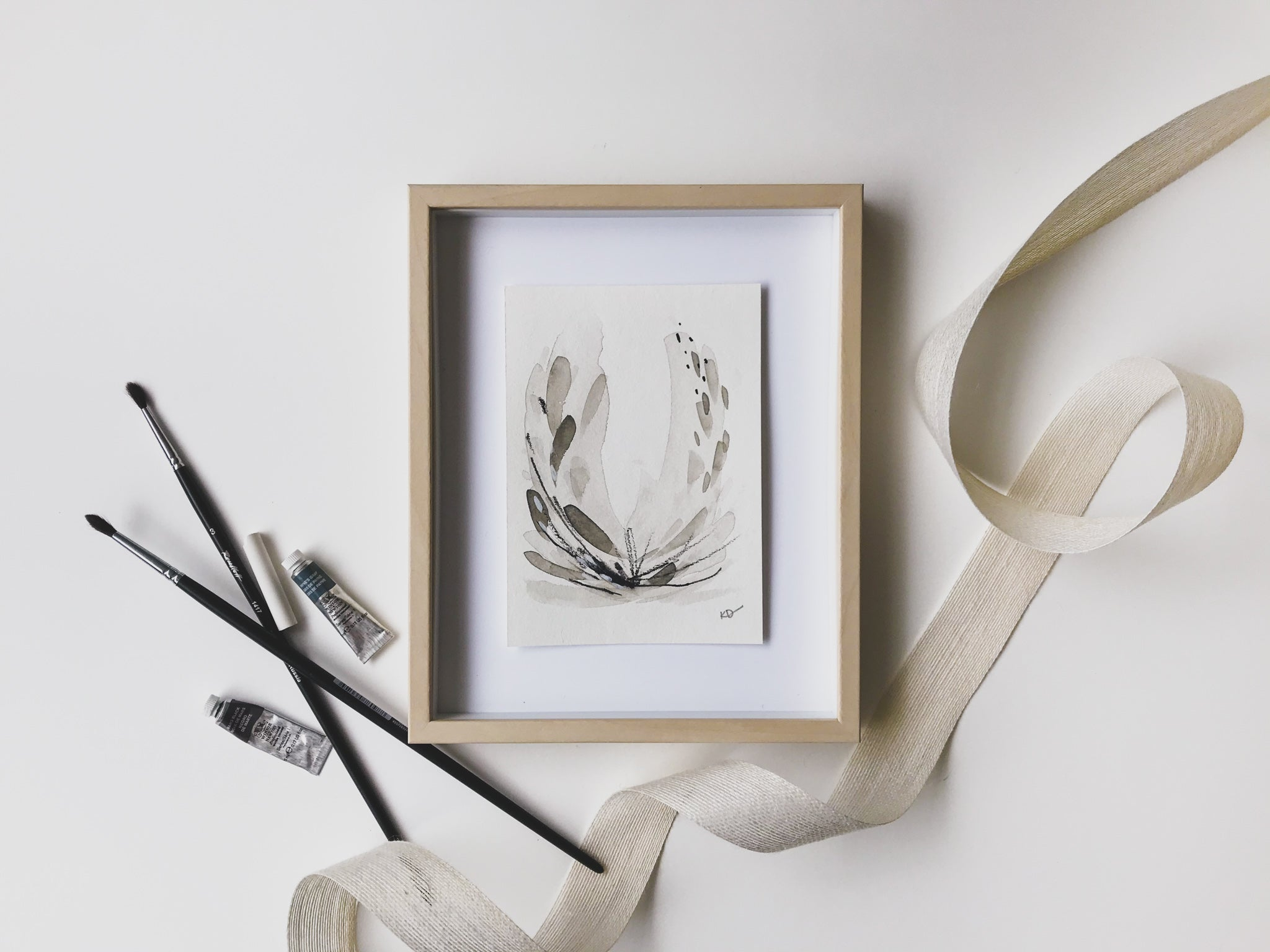 Neutral Series 31 - minimal abstract 5x7in watercolor on paper by artist Kait DeWolff of @kaitcreative. $42CAD