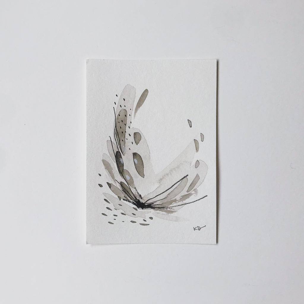 Neutral Series 32 - minimal abstract 5x7in watercolor on paper by artist Kait DeWolff of @kaitcreative. $42CAD