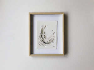Neutral Series 32 - minimal abstract 5x7in watercolor on paper by artist Kait DeWolff of @kaitcreative. Shown in Ikea Hovsta frame. $42CAD
