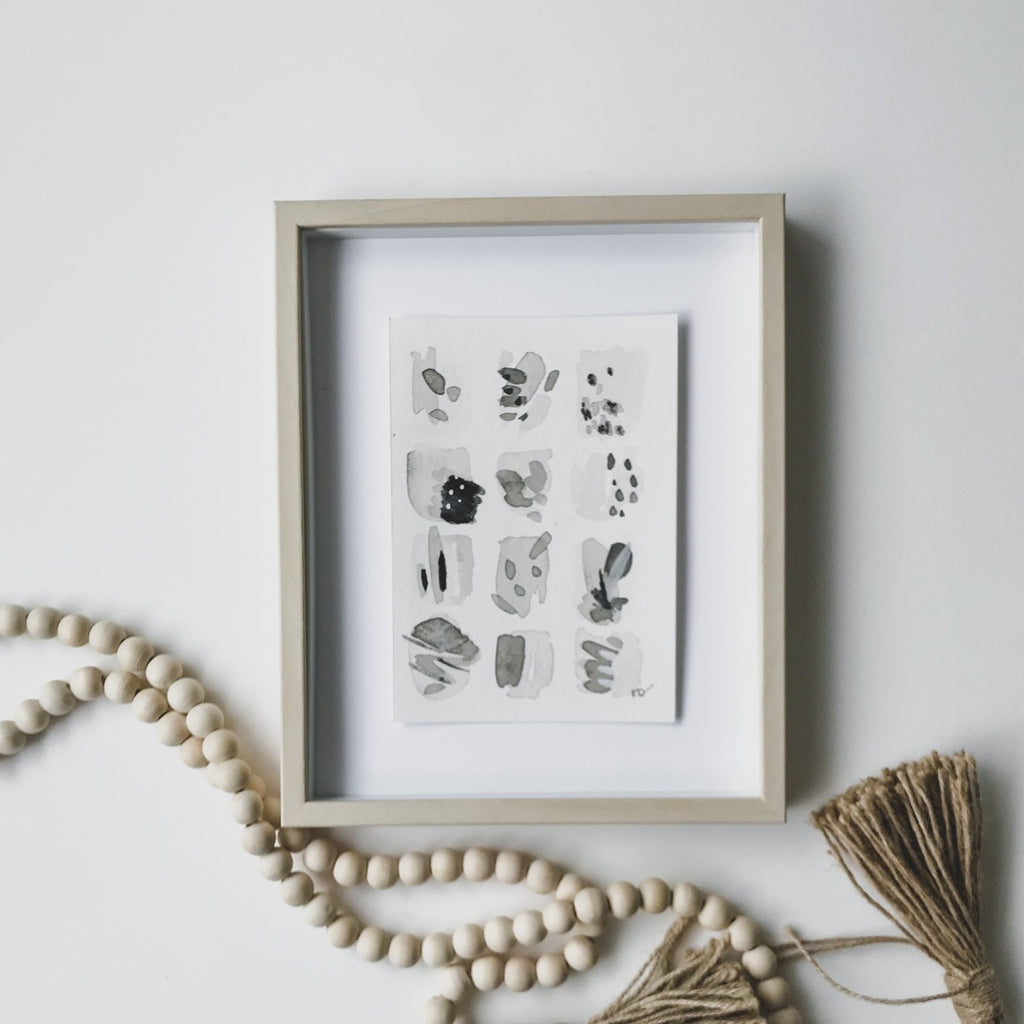 Neutral Series 33 - minimal abstract 5x7in watercolor on paper by artist Kait DeWolff of @kaitcreative. $42CAD