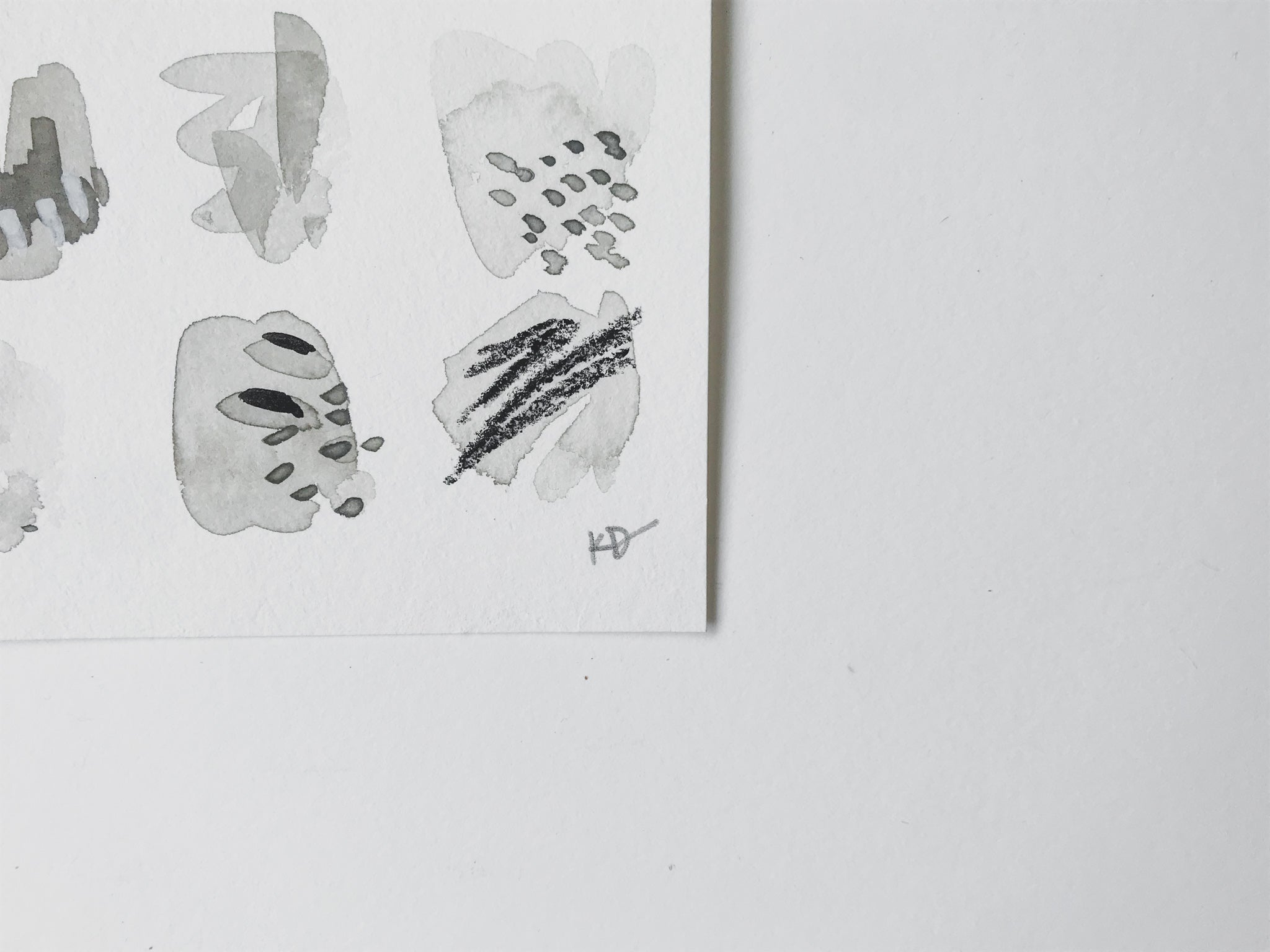 Neutral Series 34 - minimal abstract 5x7in watercolor on paper by artist Kait DeWolff of @kaitcreative. $42CAD