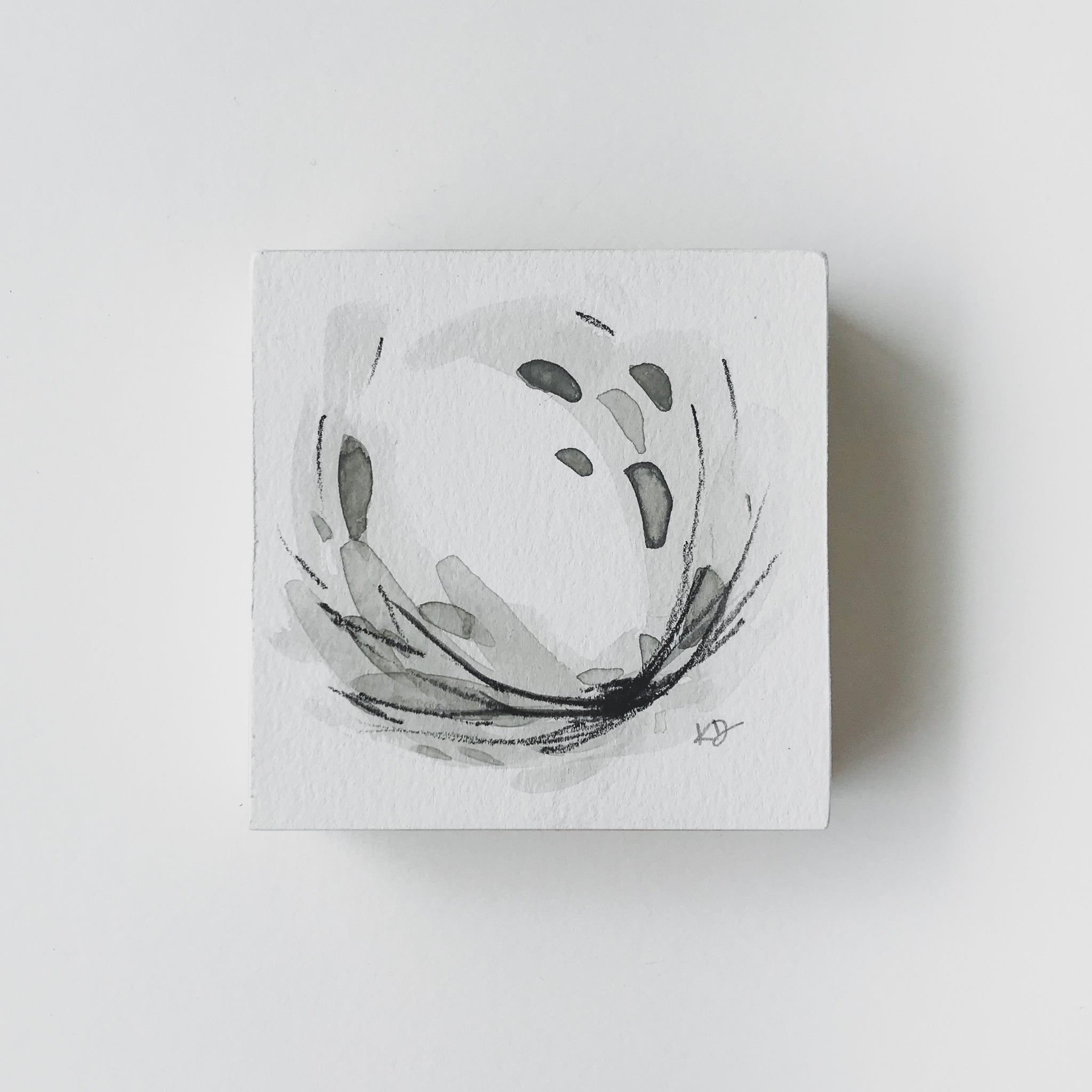 Neutral Series 10 - Minimal Abstract art mounted to wood block, ready to hang or stand. by kait dewolff @kaitcreative $48CAD