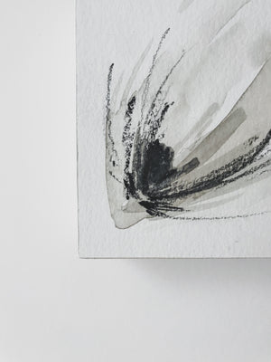Neutral Series 5 - Minimal Abstract art mounted to wood block, ready to hang or stand. $48CAD