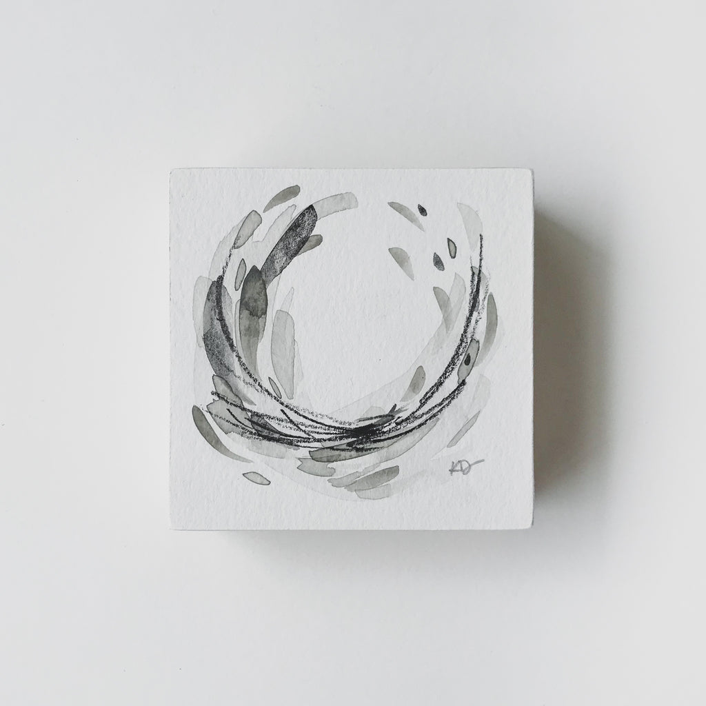 Neutral Series 9 - Minimal Abstract art mounted to wood block, ready to hang or stand. by kait dewolff @kaitcreative $48CAD