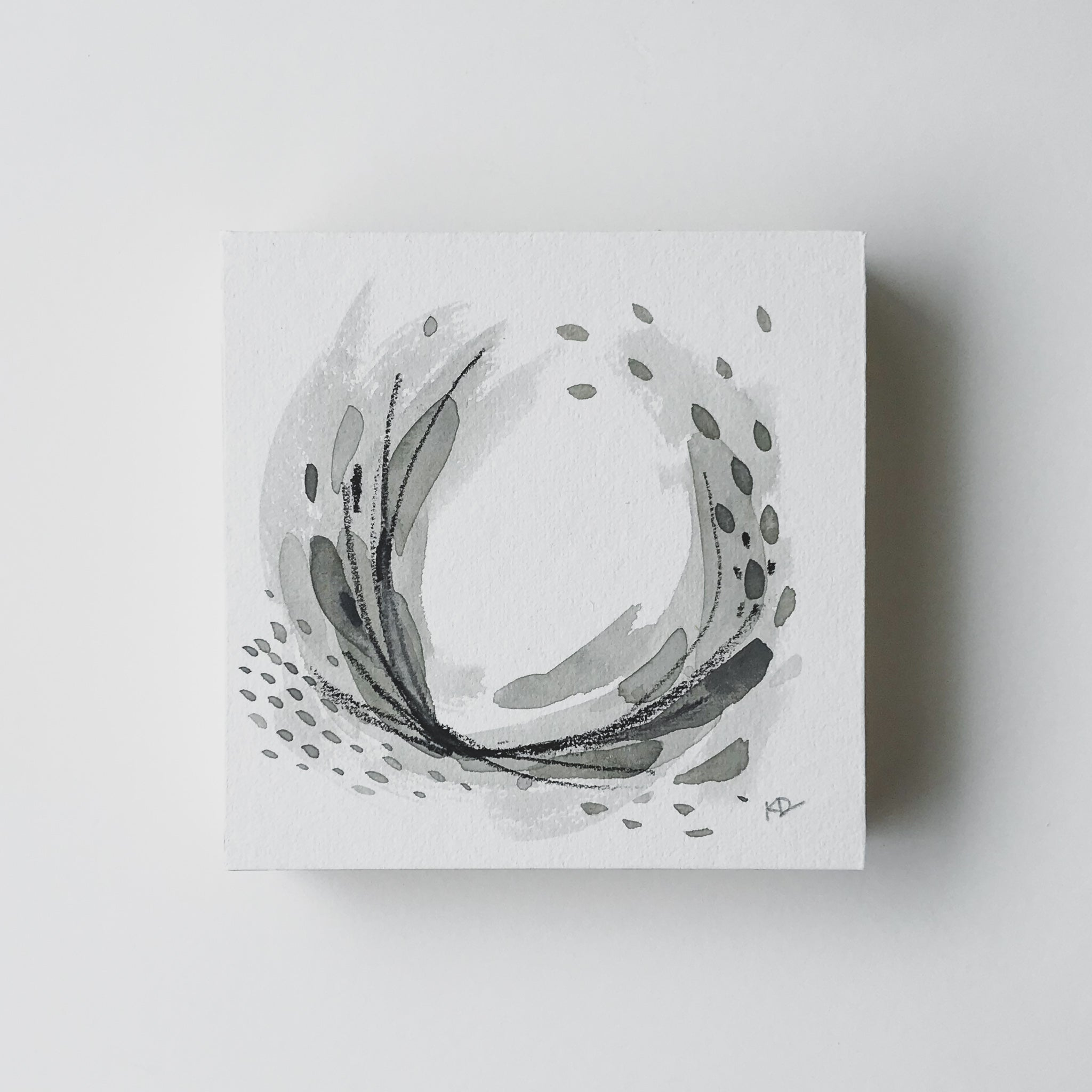 Neutral Series 25 - Minimal Abstract art mounted to wood block, ready to hang or stand. by kait dewolff @kaitcreative $72CAD