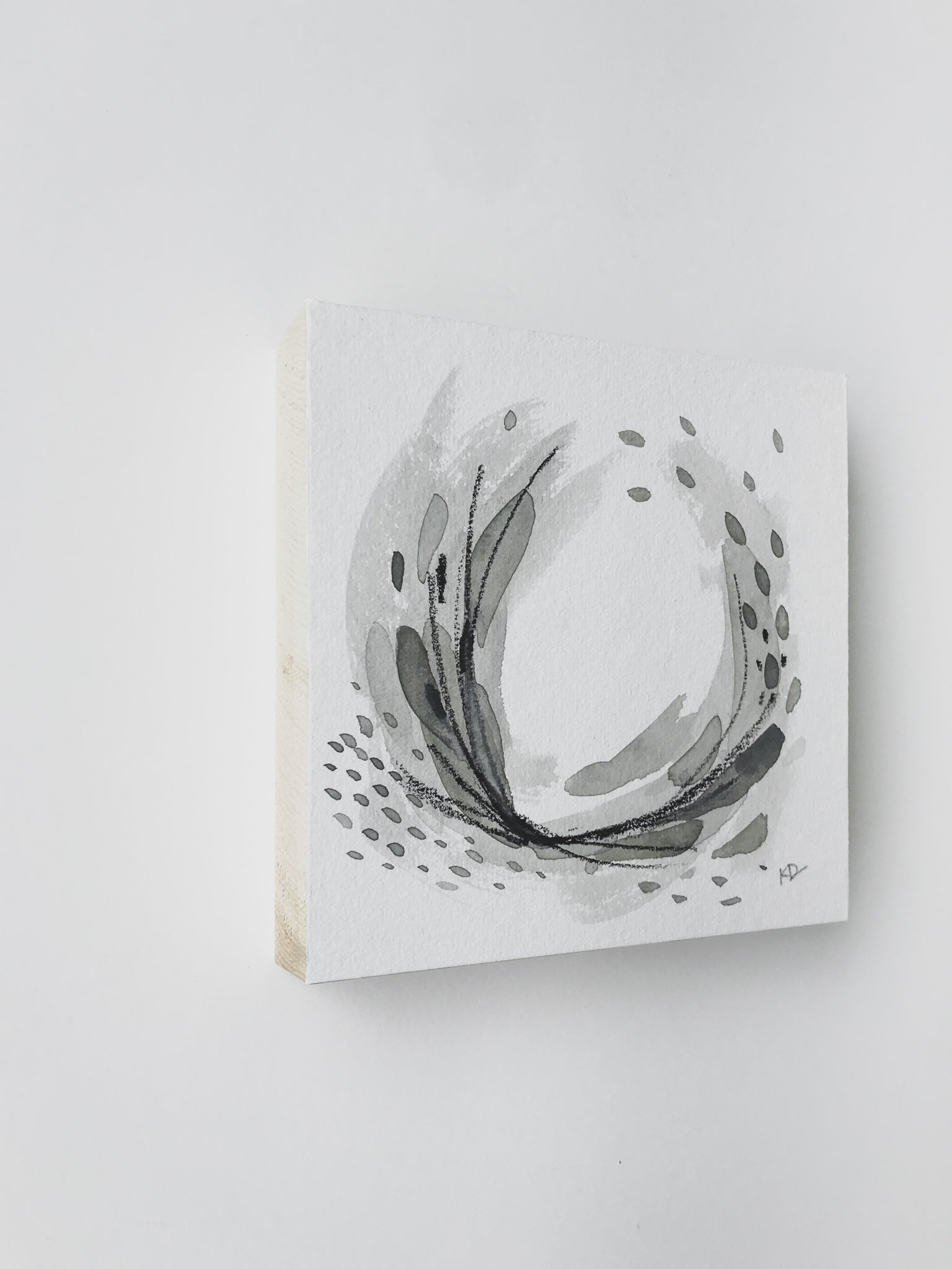 Neutral Series 24 - Minimal Abstract art mounted to wood block, ready to hang or stand. by kait dewolff @kaitcreative $72CAD