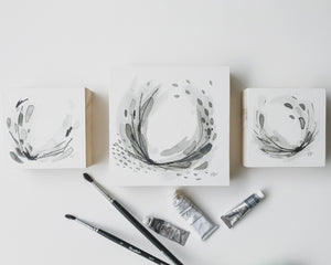 Neutral Series 05, 24 & 09 - Minimal Abstract art mounted to wood block, ready to hang or stand. by kait dewolff @kaitcreative $72CAD