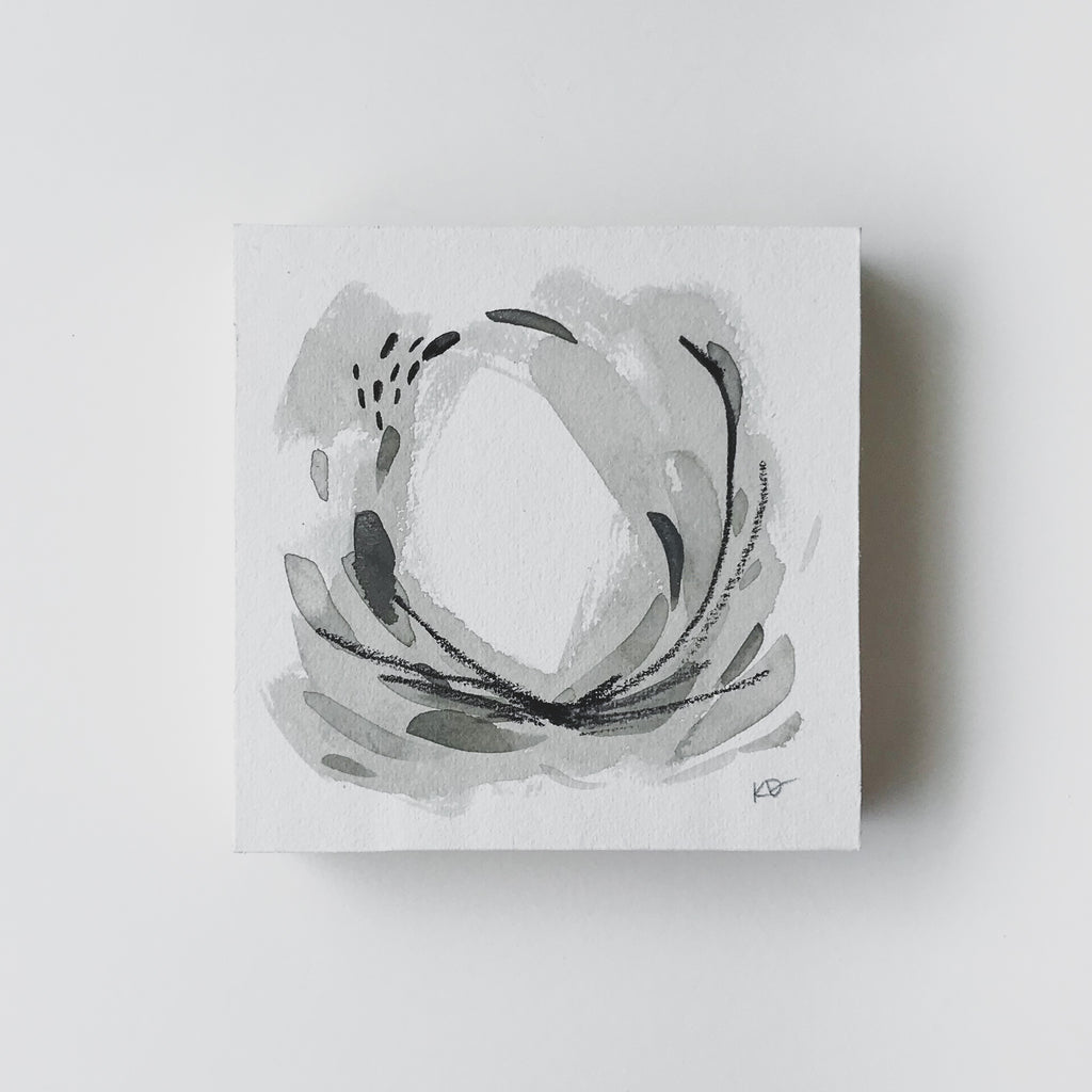 Neutral Series 27 - Minimal Abstract art mounted to wood block, ready to hang or stand. by kait dewolff @kaitcreative $72CAD