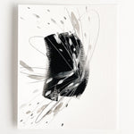 Stay 01 - Neutral, Black and white abstract painting on paper by artist Kait DeWolff. Kaitcreative