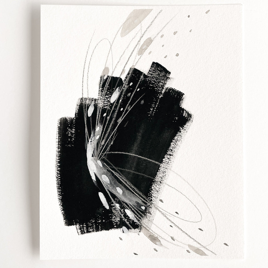 Stay 02 - Neutral, Black and white abstract painting on paper by artist Kait DeWolff. Kaitcreative