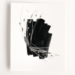 Stay 03 - Neutral, Black and white abstract painting on paper by artist Kait DeWolff. Kaitcreative