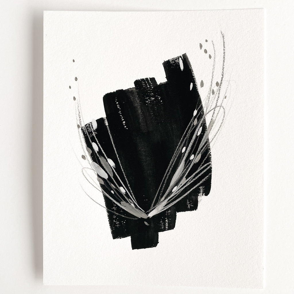 Stay 04 - Neutral, Black and white abstract painting on paper by artist Kait DeWolff. Kaitcreative