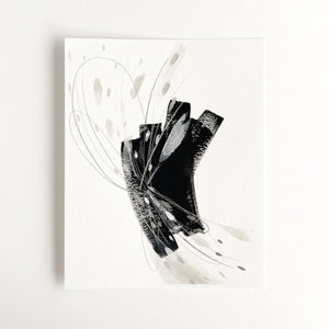 Stay 05 - Neutral, Black and white abstract painting on paper by artist Kait DeWolff. Kaitcreative