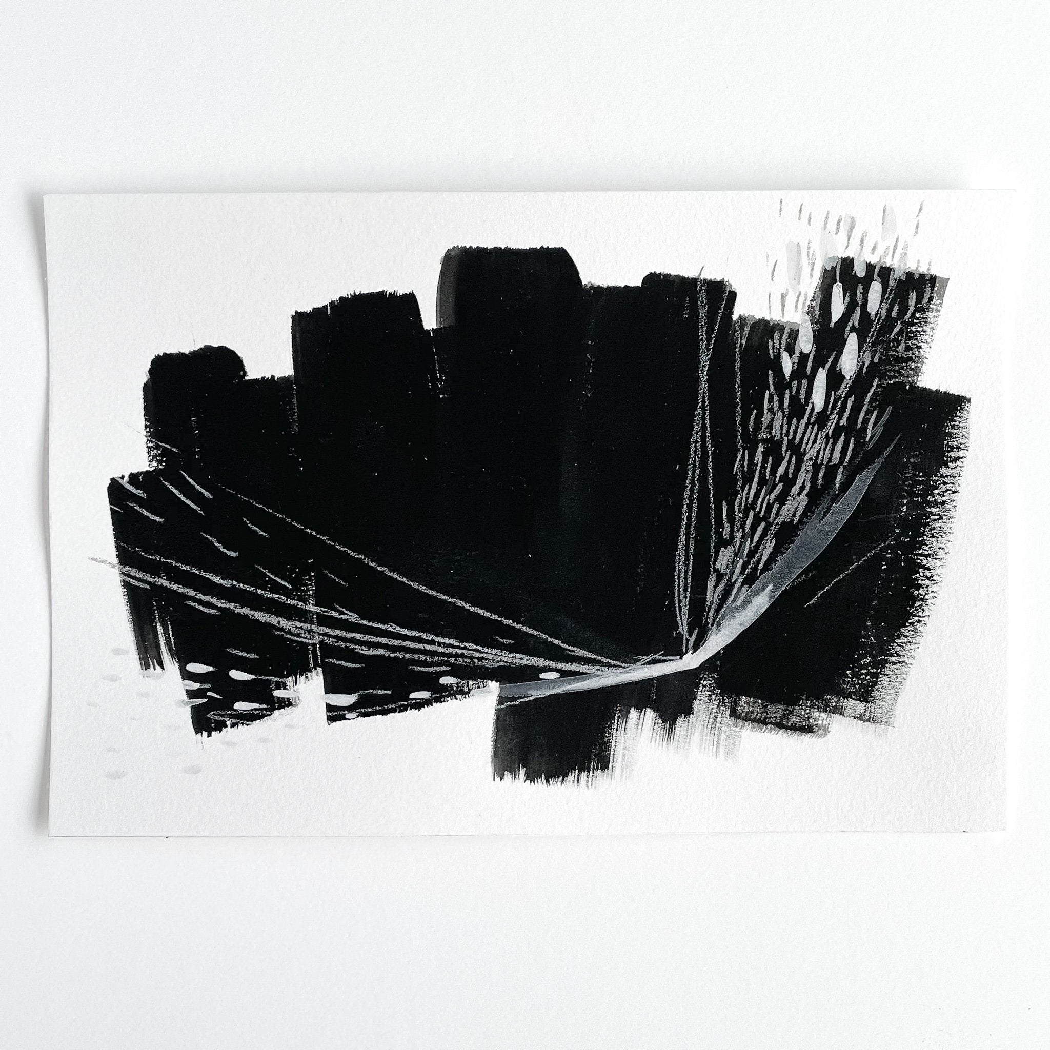 Stay 07 - Neutral, Black and white abstract painting on paper by artist Kait DeWolff. Kaitcreative