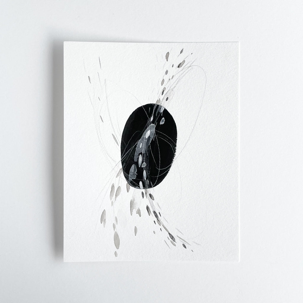Stay 09 - Neutral, Black and white abstract painting on paper by artist Kait DeWolff. Kaitcreative