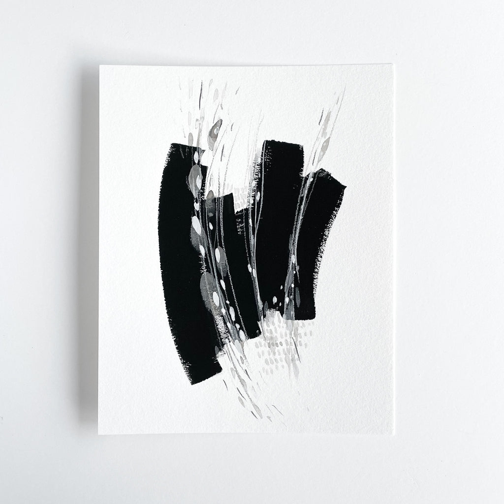 Stay 10 - Neutral, Black and white abstract painting on paper by artist Kait DeWolff. Kaitcreative