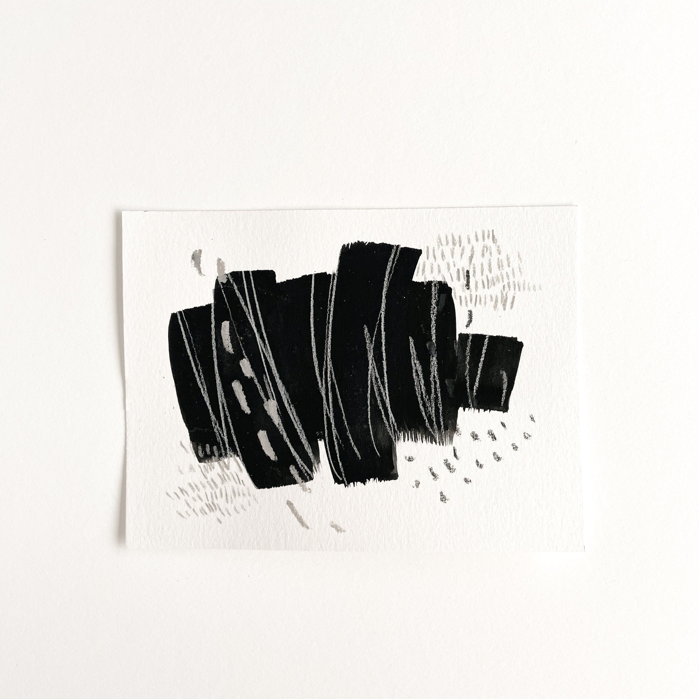 Stay 12 - Neutral, Black and white abstract painting on paper by artist Kait DeWolff. Kaitcreative