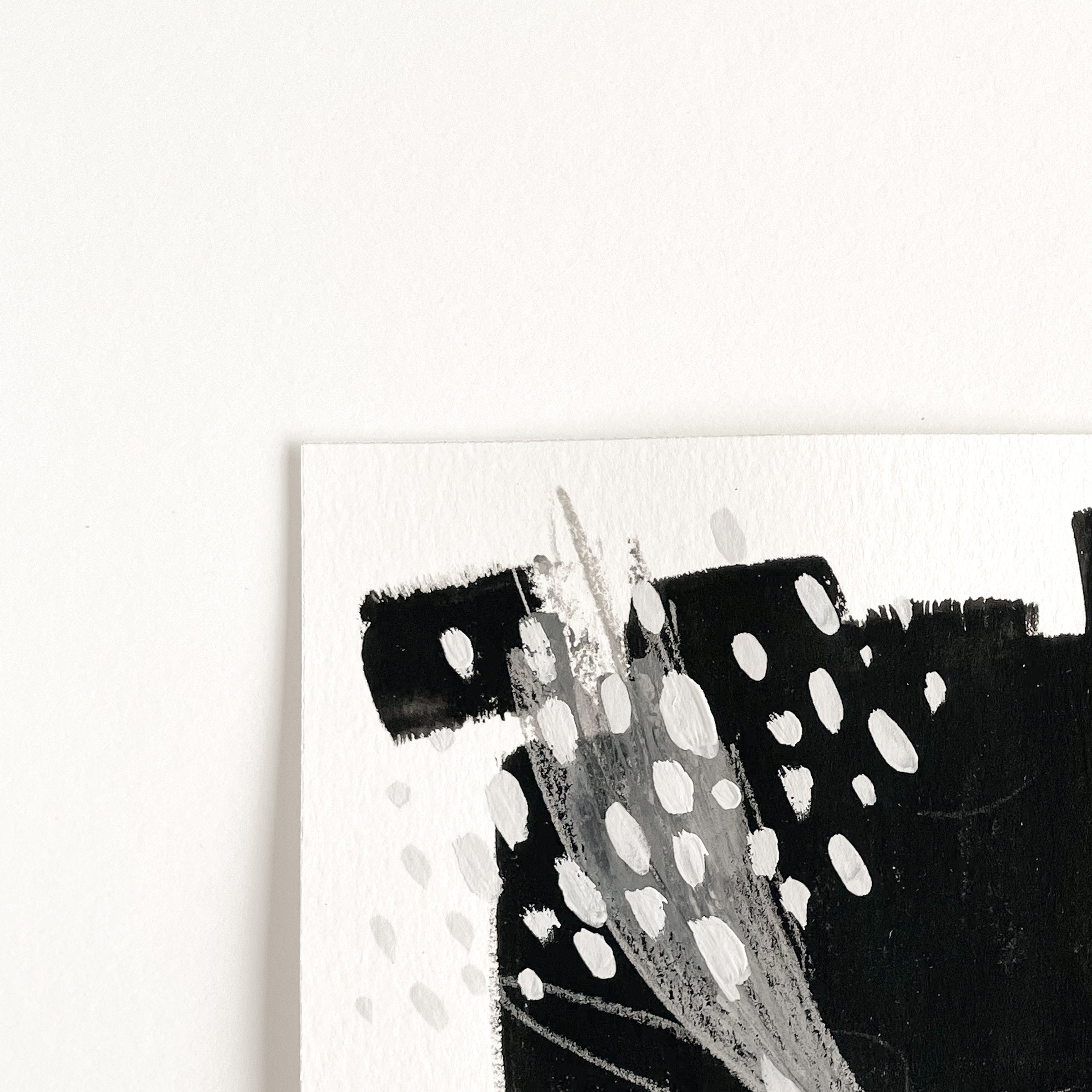 Stay 13 - Neutral, Black and white abstract painting on paper by artist Kait DeWolff. Kaitcreative