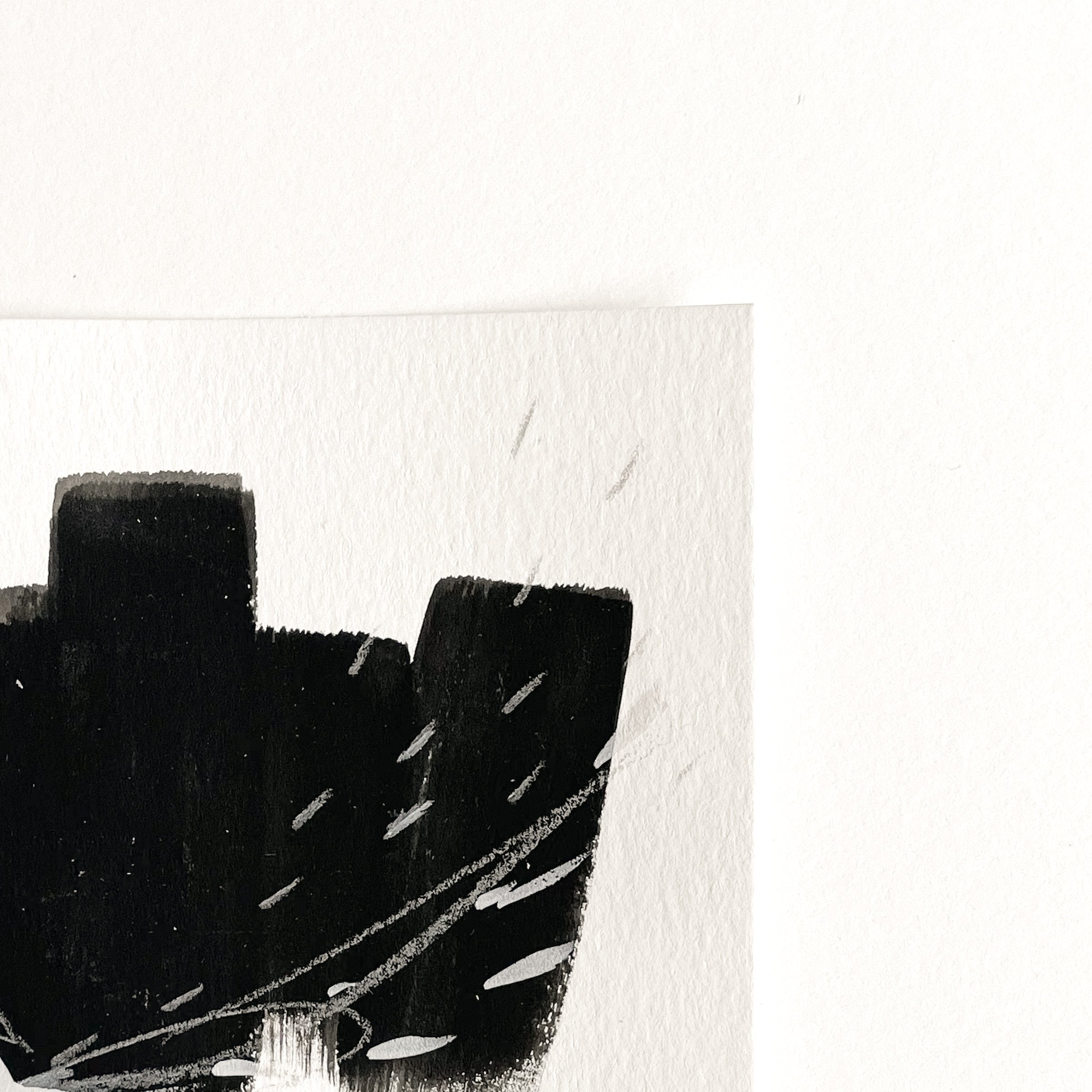 Stay 14 - Neutral, Black and white abstract painting on paper by artist Kait DeWolff. Kaitcreative