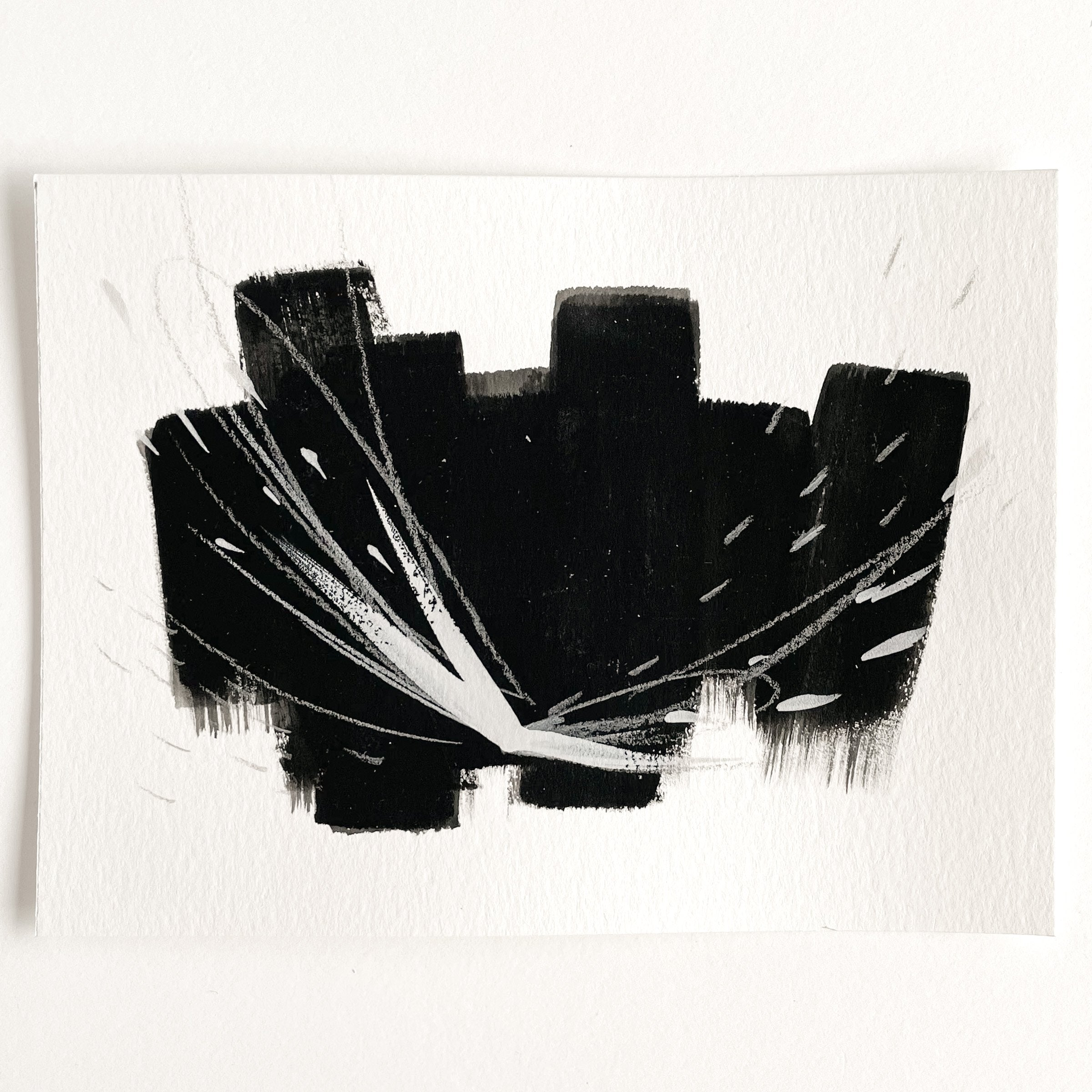 Stay 15 - Neutral, Black and white abstract painting on paper by artist Kait DeWolff. Kaitcreative