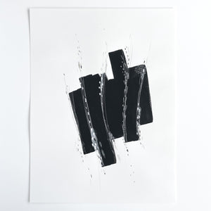 Stay 16 - Neutral, Black and white abstract painting on paper by artist Kait DeWolff. Kaitcreative