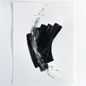 Stay 17 - Neutral, Black and white abstract painting on paper by artist Kait DeWolff. Kaitcreative