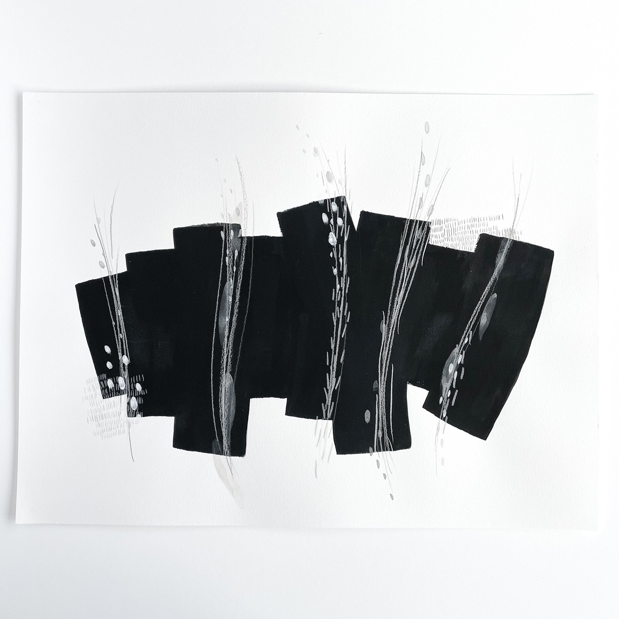 Stay 18 - Neutral, Black and white abstract painting on paper by artist Kait DeWolff. Kaitcreative