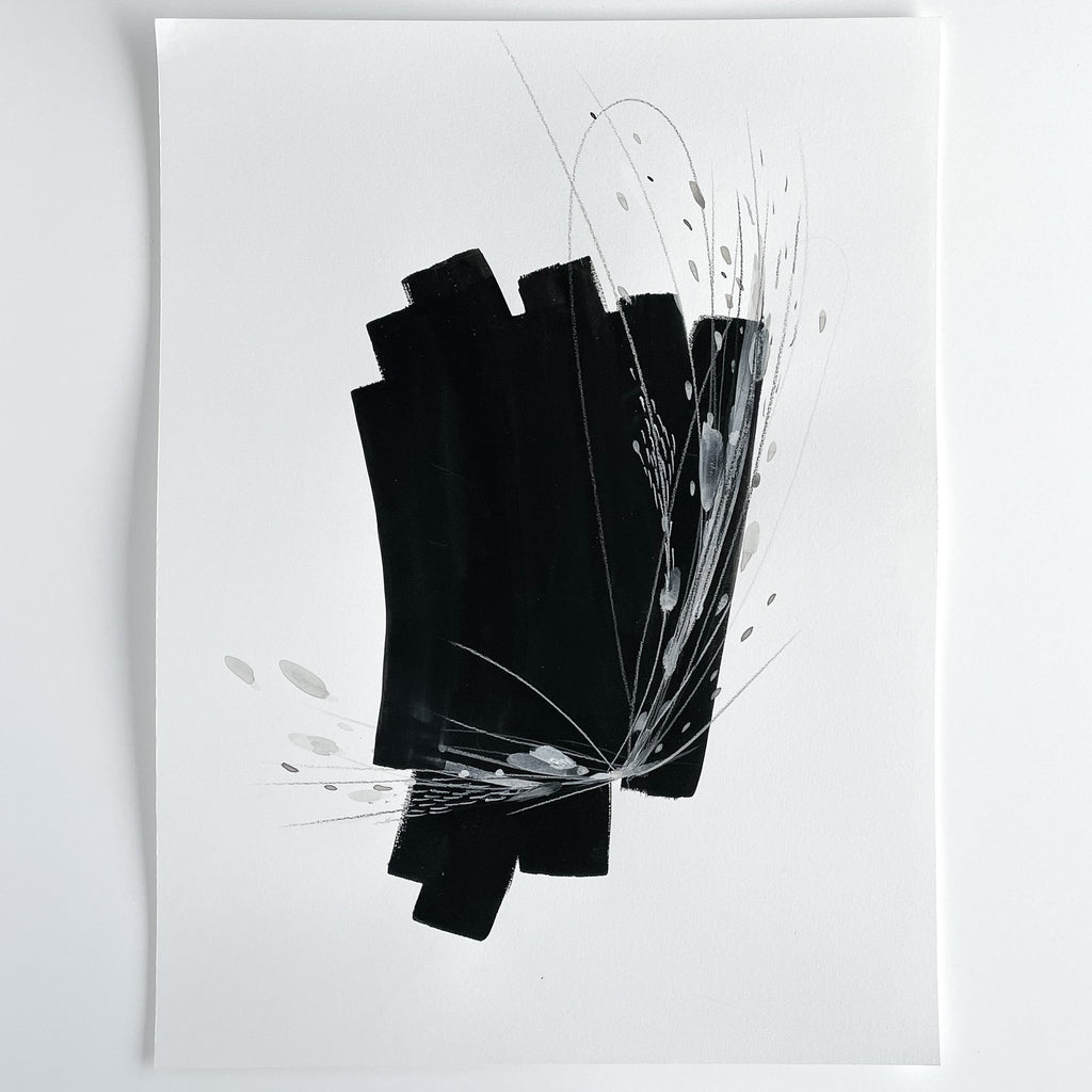 Stay 19 - Neutral, Black and white abstract painting on paper by artist Kait DeWolff. Kaitcreative