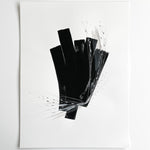 Stay 20 - Neutral, Black and white abstract painting on paper by artist Kait DeWolff. Kaitcreative