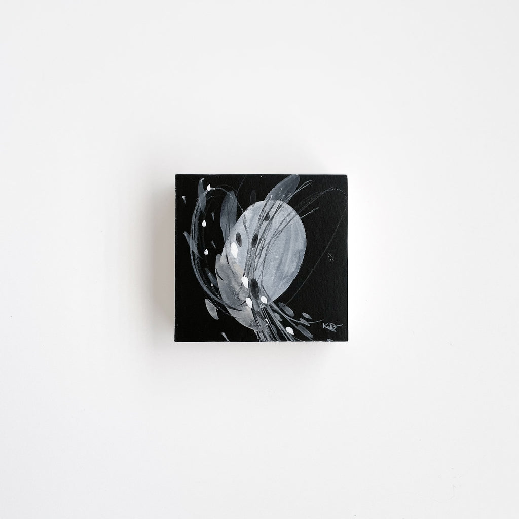 Stay 22 - Neutral, Black and white abstract painting on paper by artist Kait DeWolff. Kaitcreative