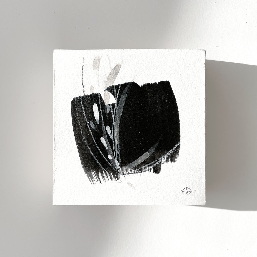 Stay 26 - Neutral, Black and white abstract painting on paper by artist Kait DeWolff. Kaitcreative