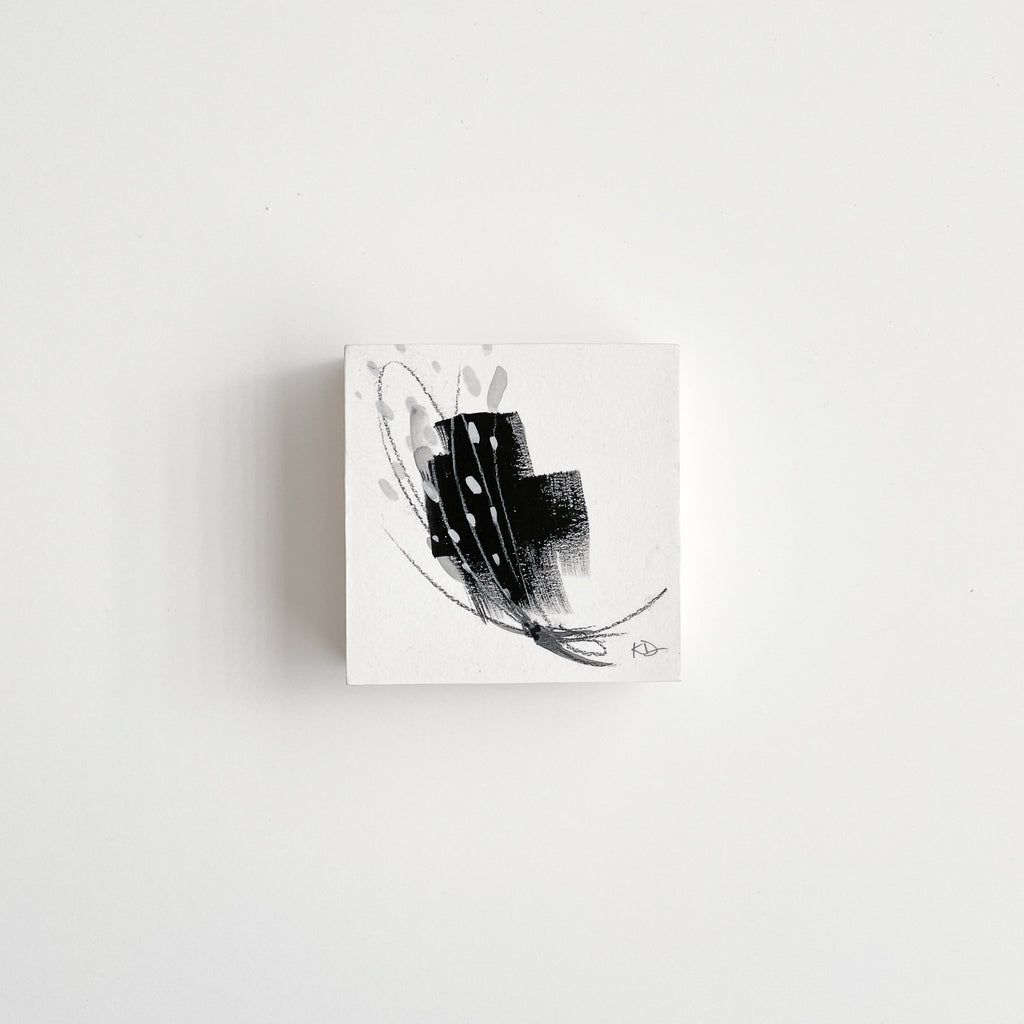 Stay 28 - Neutral, Black and white abstract painting on paper by artist Kait DeWolff. Kaitcreative