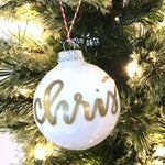 Christmas Gold & White | Hand Lettered Ornament by kaitcreative.