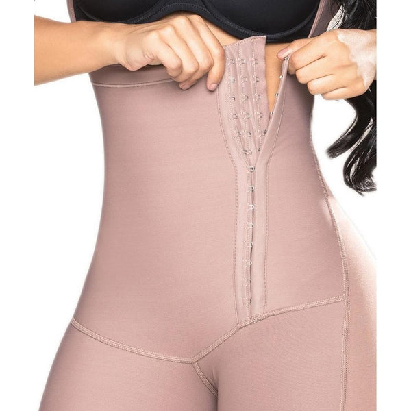 Salome-0545-J-Liposculpture-Long-girdle-Zipper-on-the-side-Coffe-front