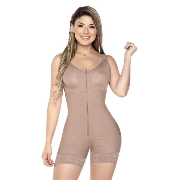 Faja-Colombiana-Melibelt-Full-Body-Shaper-short-with-Bra-Coffe