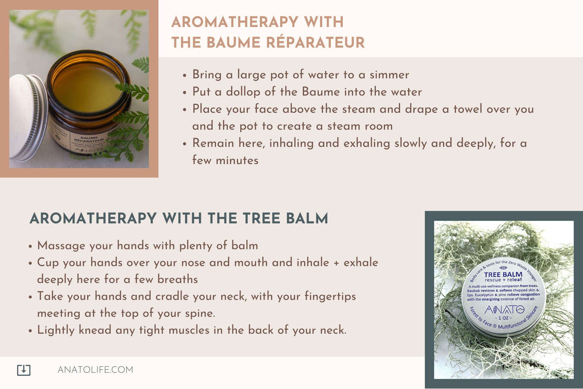 Aromatherapy with Anato tree Balm and Baume