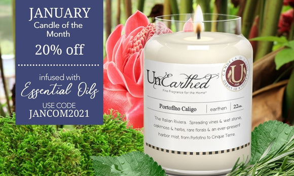PORTOFINO CALIGO - ITALIAN RIVIERA LUXURY SCENTED CANDLE - members january 2021 flash sale made with soy and essential oil vegan