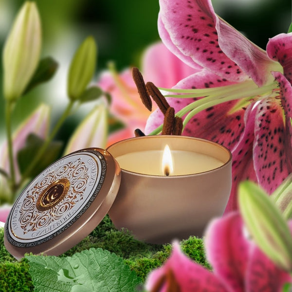 LILIUM - TRAVEL TIN - luxury scented premium candles high end essential oils coconut vegetable vegan white frosted glass recycle upcycle reusable