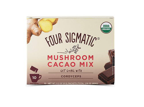 Organic Mushroom Hot Cacao with Cordyceps- Dark & Ginger (10 pack) by Four Sigmatic