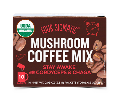 Organic Mushroom Coffee with Cordyceps & Chaga (10 sachets) by Four Sigmatic- USDA Certified