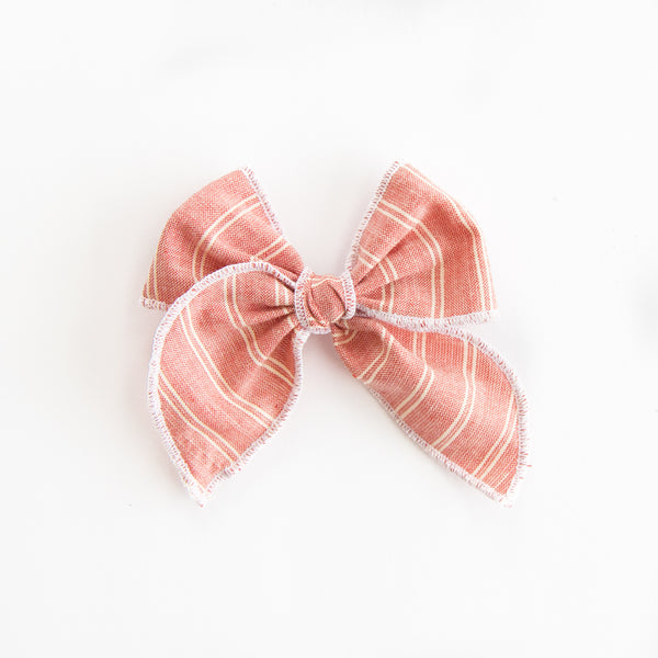 July - Red Stripe Petite Party Bow