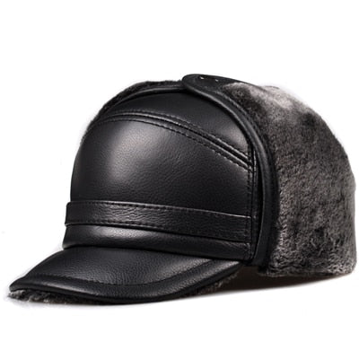 Banded Front Leather Bomber Hat