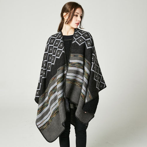 Diamond & Stripe Poncho