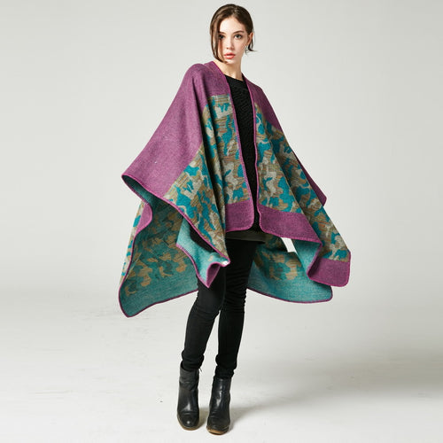 Abstract Floral Poncho