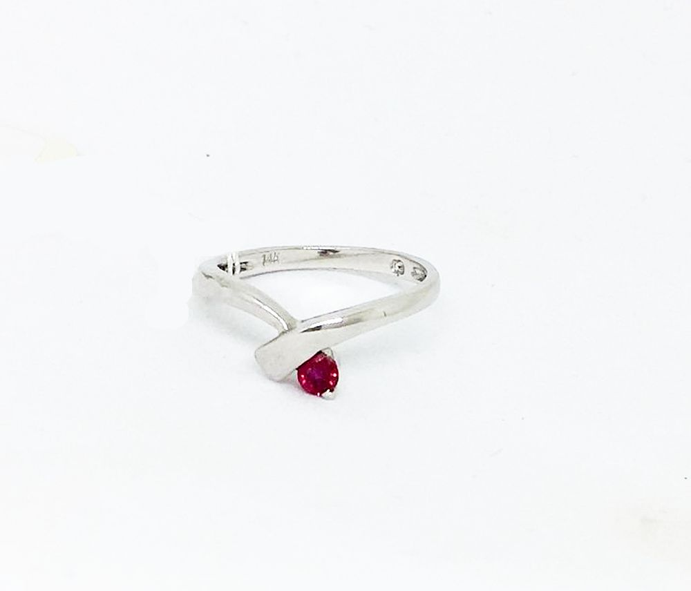 14K White Gold & Genuine Ruby Ring NWT $550