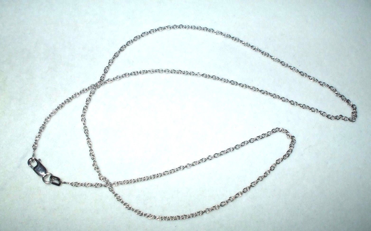18 inch 14K white gold cable chain with lobster clasp 2.4 grams 0.9 mm $350